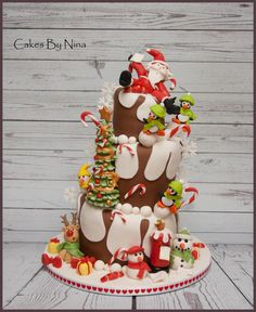 Wonky Christmas Fun - Cake by Cakes by Nina Camberley
