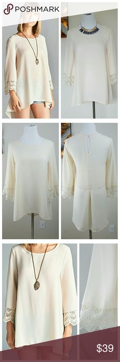 🆕 Cream Hi-Low Chiffon Tunic Top Crochet Detail New Chiffon Tunic Top. Sizes S-M available. Beautiful flowy top with crochet detailed sleeves. Color: Oatmeal. Made in the USA!   S: 26-31L 36B M: 26-32L 38B Bust measurements laying flat from armpit to armpit. Length measured from shoulder to shortest hem and longest hem. New from manufacturer without tags. Tops Blouses