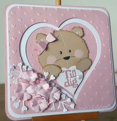 Inger's Creations 14 feb 2019 Bear Card, Love Bear, 3d Cards, Marianne Design, Baby Scrapbook, Punch Art, Big Shot, Baby Cards, Making Ideas