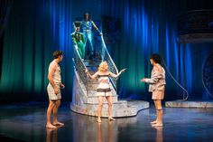 Riley Shanahan (left) as Lysander, Kelly Rogers as Puck, J. Todd Adams as Oberon, Cassandra Bissell as Helena, and Marco Antonio Vega as Demetrius in the Utah Shakespeare Festival's 2017 production of A Midsummer Night's Dream. (Photo by Karl Hugh. Copyright Utah Shakespeare Festival 2017.)