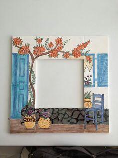 Bayıldııım... Mirror Painting, China Painting, Ceramic Painting, Painting On Wood, Mirror Mosaic, Mosaic Art, Stained Glass Frames, Handmade Mirrors, Picture Frame Decor