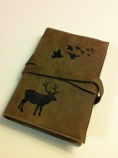 leather journal skechbook handprinted for you Bird/Elk