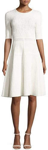 Shop for Grayson Eyelet Ponte Fit-and-Flare Dress, White by A. at ShopStyle. Bergdorf Goodman, Dress Outfits, Casual Dresses, Dresses For Work, Fit N Flare Dress, Fit And Flare, Inexpensive Wedding Dresses, White Embroidered Dress, Half Sleeve Dresses