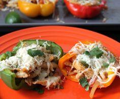 Chicken Fajita Stuffed Bell Peppers - Grain-free paleo version of Mexican stuffed peppers.