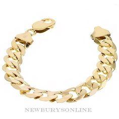 d9768a041 men's 9 inch 9ct gold heavy curb bracelet 65 grams Solid Gold Bracelet, Gold  Bracelet. NEWBURYSONLINE