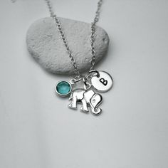 Sterling Silver Personalized Initial Birthstone by JewelleryByZM