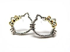 Kitty Silhouette Studs (Silver Toned)