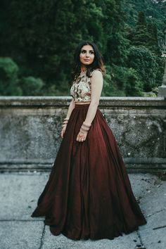 Brown two-piece wedding dress | Image by LaTo Photography