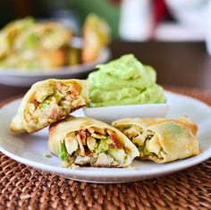 Chicken club egg rolls with avocado ranch dip