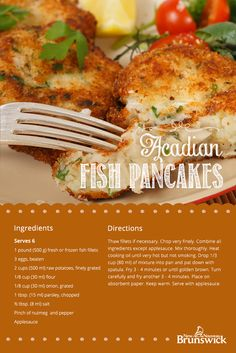Acadian Fish Pancakes - traditional recipe that's made extra delicious when served with apple sauce. Fish Recipes, Seafood Recipes, Great Recipes, Dinner Recipes, Cooking Recipes, Sauce Recipes, Whole30 Recipes, Healthy Recipes, Canadian Cuisine