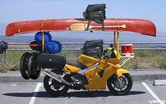 Image detail for -motorcycle-road-trip planning guide, canoe packed bike Motorcycle Towing, Funny Motorcycle, Motorcycle Camping, Motorcycle Tires, Canoe Camping, Canoe And Kayak, Motos Bmw, Kombi Motorhome, Kombi Home
