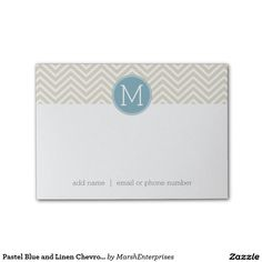 Pastel Blue and Linen Chevrons Custom Monograms Post-it® Notes