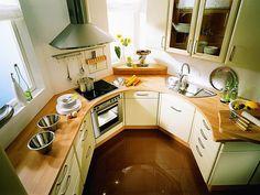 Modern konyha tervezése és kialakítása - ötletek, példák, alaprajzok - íves konyha