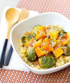 Vegan Protein Power Bowl with Steamed Veggies + Healthy food tips - Quinoa, nutritional yeast, flax seeds, tamari, hot sauce, lemon juice, Brussels sprouts, butternut squash, sesame seeds, pepper