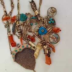 Much of the mess I wear much of the time🤣 Love my turquoise and coral and all the colors that go with it. Collect what makes your heart… Stacked Necklaces, Layered Jewelry, Jewelry Necklaces, Chunky Necklaces, Charm Bracelets, Victorian Jewelry, Antique Jewelry, Vintage Jewelry, I Love Jewelry