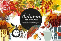 Autumn vector set by Tatiana_davidova on @creativemarket