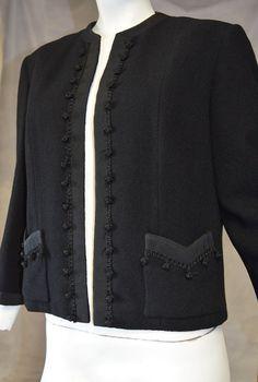 60s Dereta Great Britian Black Wool Blazer with by FlanneryCrane