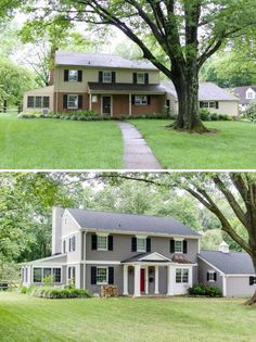 Ranch Home Curb Appeal Before And After Adding A Porch