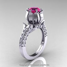 Classic 14K White Gold 1.0 Ct Pink Sapphire Diamond by artmasters