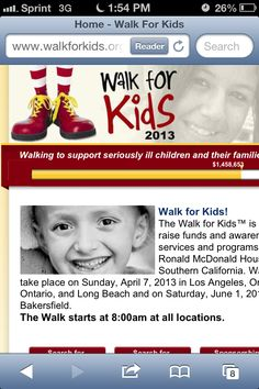Please help me reach my fund raising goal and support the Bakersfield Ronald McDonald House. Go to www.bakersfieldrmh.org and search for Sheri Clark or register to walk on June 1, 2013.