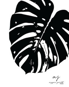 Black and White Monstera Leaf INSTANT by AzzariJarrettDesigns