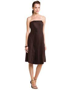 Giorgio Armani Dark Brown Silk Strapless Dress