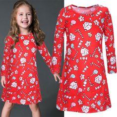 Beautiful Christmas Santa Claus Print Short Parent-child Dress