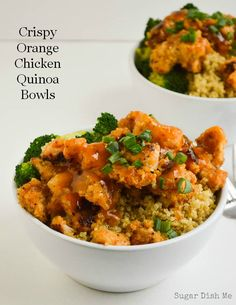 Crispy Orange Chicken Quinoa Bowls - lightened up with a sweet and spicy orange sauce. YUM!