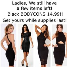 All black Bodycons! On SALE Visit www.ishop-lust.com to order these pieces and more!  Only 14.99! Dresses