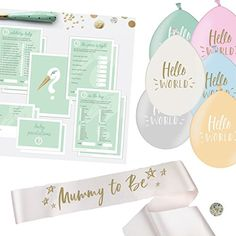 Baby Shower Unisex Kit - Quality Baby Shower Decorations, Baby Shower Games for 25 Players, Mummy to Be Sash Neutral Pin Unisex Baby Shower, Baby Shower Games, Baby Shower Decorations, Sash, Wedding Accessories, Neutral, Place Card Holders, Kit, Amazon