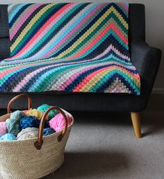 crochet blanket Havana Nights Blanket Crochet pattern by Rosina Northcott - Bring the colours of Cuban parties to your home with this spectacular blanket. This pattern includes full colour chart, written instructions, useful photos for colour changes Crochet Square Patterns, Crochet Stitches Patterns, Crochet Squares, Crochet Designs, Afghan Patterns, Quilting Patterns, Granny Squares, Crochet Afghans, Motifs Afghans