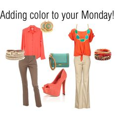 Loving these two hot colors!, Monday Look of the day