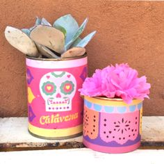 Printable centrepiece can wrappers and more for Day of the Dead at happythought.co.uk
