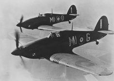 Polish Squadron RAF hurricane's in flight.