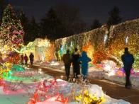 Garden plots and wall vegetation at the Denver Botanic Gardens are transformed into a magical environment during the Yuletide.
