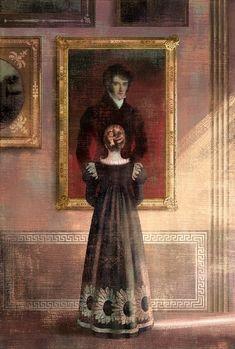 Pride and Prejudice Illustration: Elizabeth Bennet gazes on a portrait of Mr. Darcy at Pemberley.