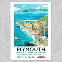 Print of British Railways Plymouth poster. All Poster, Poster Prints, Navy Exchange, British Travel, Railway Posters, Retro Print, Police Station, Art Deco Design, Royal Navy