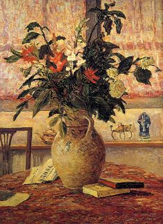Maxime Maufra. A bouquet of flowers in front of a window