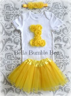 BRIGHT YELLOW Baby Girl One Year Smash Cake Outfit Tutu Shabby Flower Onesie and Matching Headband Set, Birthday Party Photo Prop Skirt by BellaBumbleBee, $24.95