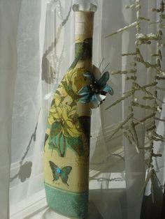 Reverse  side of Decoupage Bottle!!