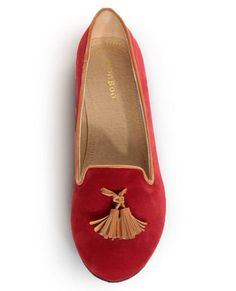 Bamboo Donovan 01 Red & Tan Tassel Smoking Slipper Flats