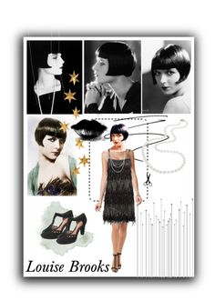 """Going as Louise Brooks for halloween"" by kizzied ❤ liked on Polyvore featuring Brooks, Unique Vintage, Pinko, Nadri, Clarks and Livingly"