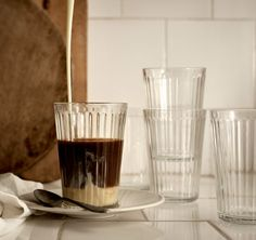 IKEA - VARDAGEN, Glass, clear glass, Also suitable for hot drinks. Made of tempered glass, which makes the glass durable and extra resistant to impact. Ikea Vardagen, Ikea New, Ikea Portugal, Pella Hedeby, Recycling Facility, Fika, Dinner Sets, Dinnerware Sets, Hot Coffee