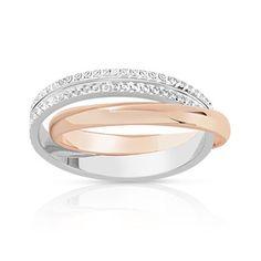 ALLIANCE 2 anneaux entrelacés mobiles en 2 ors 750 (or rose, or blanc finement diamanté). Largeur 3 mm. Taille 46 à 58.