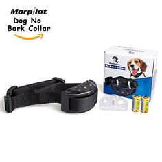 Morpilot Dog No Bark Collar for Bark Control 7 Levels Adjustable Sensitivity Control No Harm Warning Beep and Shock for 15-120 Pounds Dogs -- Click image for more details.