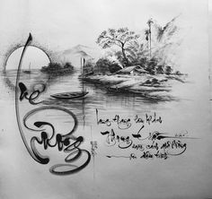 Writing Art, Chinese Calligraphy, Sketch Design, Chinese Art, Asian Art, Vietnam, Fonts, Embroidery, Black And White