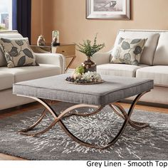 Solene X Base Square Ottoman Coffee Table - Champagne Gold by iNSPIRE Q Bold ([Grey Linen]- Smooth Top), Size Large (Fabric)