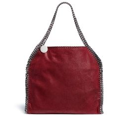 Stella McCartney 'Falabella' shaggy deer foldover chain tote (€1.290) ❤ liked on Polyvore featuring bags, handbags, tote bags, red, stella mccartney handbags, carryall tote, red tote, foldable tote bag and handbags totes