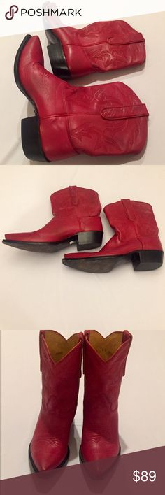 Caborca Red Western Shorty Cowboy Boots Size 8 Great pair of western shorty boots by Caborca boots.  These were made for Wild Wild West Chicago by the Canorca boot company Mexico.  There are a few scuffs side and toe.  Women's Size 8 Caborca Shoes Ankle Boots & Booties