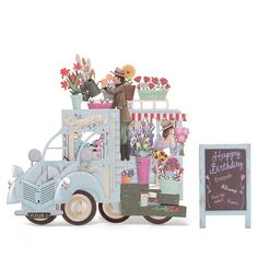 EU Warehouse   3D Pop Up Car of Flower Greeting Cards Happy Anniversary Birthday Invitations